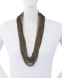 Eileen Fisher | Metallic Sparkle Knit Scarf Necklace | Lyst