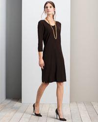 Misook - Black 3/4-sleeve V-neck Dress - Lyst