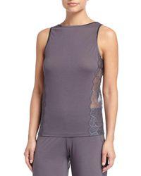 La Perla - Gray Iris Sleeveless Pajama Top With Lace - Lyst