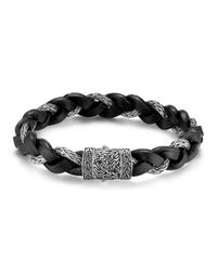 John Hardy | Metallic Men's Classic Chain Silver Braided Bracelet W/leather Cord for Men | Lyst