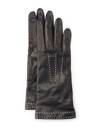 Portolano - Black Stitch-detail Leather Gloves - Lyst