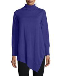 Eileen Fisher | Blue Long-sleeve Merino Asymmetric Turtleneck Tunic | Lyst