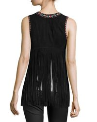 Lamarque - Brown Sonia Embroidered Suede Fringe Vest - Lyst