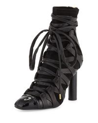 Tom Ford - Black Lace-up Leather 115mm Bootie - Lyst