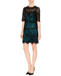 Dolce & Gabbana | Black Floral-lace Dress W/contrast Slip | Lyst