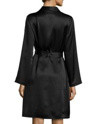 La Perla - Black Silk Long-sleeve Short Robe - Lyst