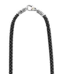Lagos - Black Caviar Diamond 3-station Necklace - Lyst