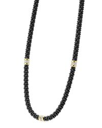 Lagos | Black Caviar Diamond 3-station Necklace | Lyst