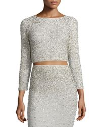 Alice + Olivia - Metallic Lacey Embellished Bracelet-sleeve Crop Top - Lyst