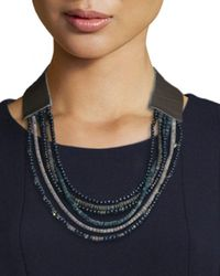 Peserico - Gray Wooden-beaded Multi-strand Necklace - Lyst