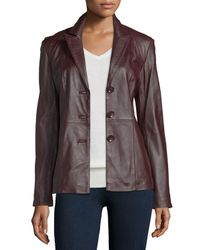 Neiman Marcus - Brown Basic Solid Leather Blazer - Lyst
