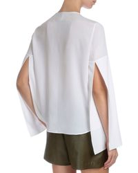 Givenchy | White Tie-neck Cape-sleeve Blouse | Lyst