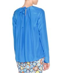 Emilio Pucci - Blue Long-sleeve Pleated Top - Lyst