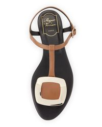 Roger Vivier - Black Chips T-Bar Leather Sandals - Lyst