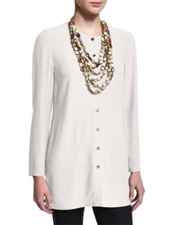 Eileen Fisher - White Long Silk Button-front Blouse - Lyst