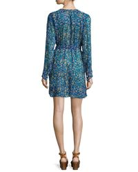 Étoile Isabel Marant - Blue Seen Printed Silk Tie-waist Dress - Lyst