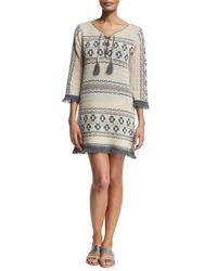 Calypso St. Barth - Natural Ranu -print Cashmere Sweater Dress - Lyst