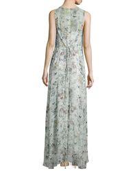 Adam Lippes - Green Sleeveless Floral-print Silk Gown - Lyst