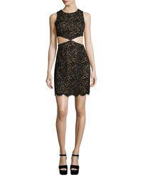 Michael Kors   Black Lace Mini Dress W/cutouts   Lyst