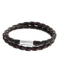 Tateossian   Metallic Men's Braided Leather Double-wrap Bracelet for Men   Lyst