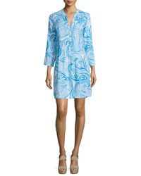 Lilly Pulitzer - Blue Sarasota 3/4-sleeve Printed Tunic Dress - Lyst