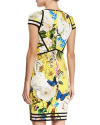 Roberto Cavalli - Yellow Floral-print Punto Cap-sleeve Dress - Lyst