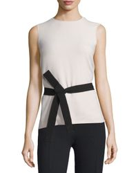 Joseph | Natural Sleeveless Belted Crepe Top | Lyst