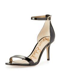 Sam Edelman | Black Patti Patent Naked Sandal | Lyst
