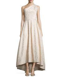 ML Monique Lhuillier | White One-shoulder Metallic Ball Gown | Lyst