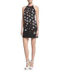 Victoria, Victoria Beckham - Black Sleeveless Embellished Mini Shift Dress - Lyst
