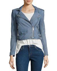 IRO - Gray Ashville Cropped Leather Jacket - Lyst