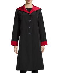 Jane Post | Black Hooded Button-front Reversible Coat | Lyst