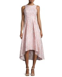 Shoshanna - Pink Sleeveless Printed High-low Cocktail Dress - Lyst