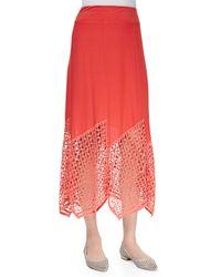XCVI | Blue Lauryn Lace-Hem Crepe Midi Skirt | Lyst