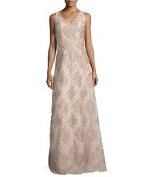 David Meister | Natural Sleeveless Polka Dot Lace Gown | Lyst