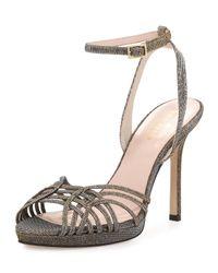 kate spade new york | Metallic Farryn Shimmery Strappy Sandal | Lyst