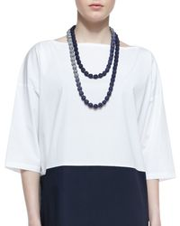 Eileen Fisher | Blue Mini Striped Beaded Necklace | Lyst
