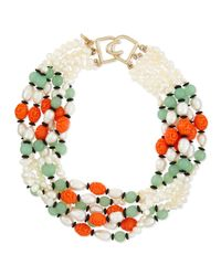 Kenneth Jay Lane - Metallic Pearly Colorblock Multi-strand Necklace - Lyst
