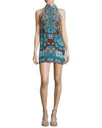 Hemant & Nandita - Blue Halter-neck Printed Mini Dress - Lyst