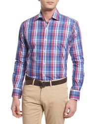 Peter Millar | Blue Melange Plaid Long-sleeve Sport Shirt for Men | Lyst