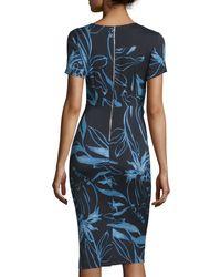 SUNO - Multicolor Short-sleeve Floral Cutout Dress - Lyst