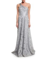 David Meister | Metallic One-shoulder Embroidered Gown | Lyst