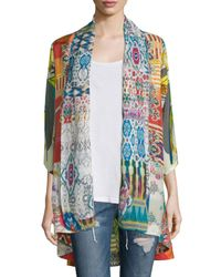 Johnny Was | Green Mix-print Kimono Jacket | Lyst