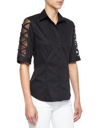 Finley   Black Burnout-sleeve Button-front Blouse   Lyst