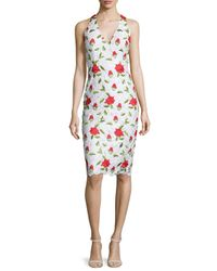 David Meister | White Sleeveless Floral-embroidered Cocktail Dress | Lyst