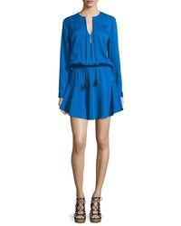 Karina Grimaldi - Blue Pilar Long-sleeve Split-neck Dress - Lyst