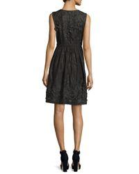 Elie Tahari - Black Kia Sleeveless Organdy Dress W/ Floral Appliqué - Lyst