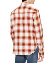 Maison Margiela - Orange Check Long-sleeve Western Shirt for Men - Lyst