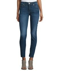 True Religion | Blue Halle Mid-rise Super Skinny Jeans | Lyst