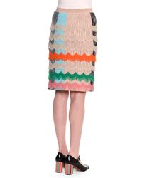 Missoni | Multicolor Ruffled Zigzag Pencil Skirt | Lyst